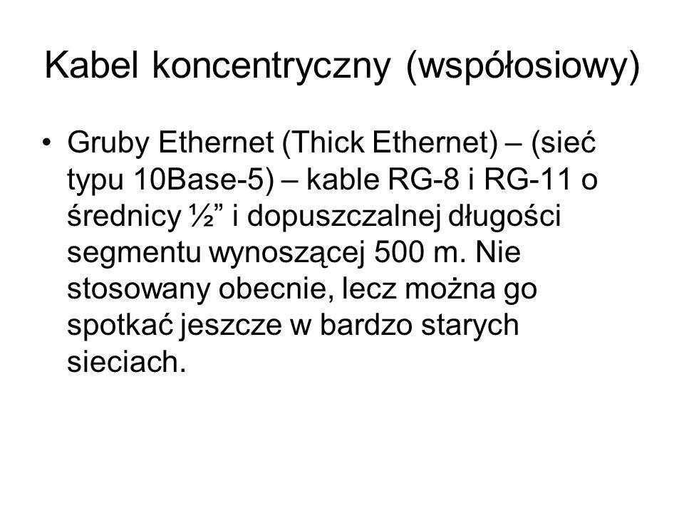 Kabel koncentryczny (współosiowy) Gruby Ethernet (Thick Ethernet) – (sieć typu 10Base-5) – kable RG-8 i RG-11 o średnicy ½ i dopuszczalnej długości se