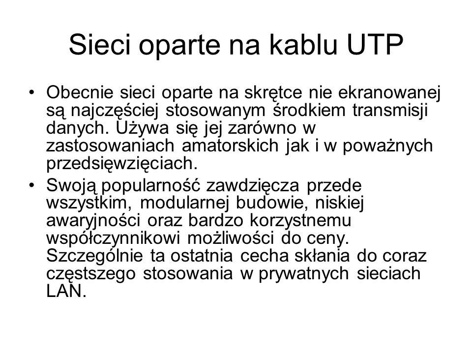Sieci oparte na kablu UTP Obecnie sieci oparte na skrętce nie ekranowanej są najczęściej stosowanym środkiem transmisji danych. Używa się jej zarówno
