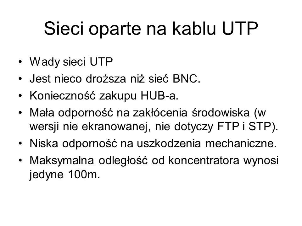 Sieci oparte na kablu UTP Wady sieci UTP Jest nieco droższa niż sieć BNC. Konieczność zakupu HUB-a. Mała odporność na zakłócenia środowiska (w wersji