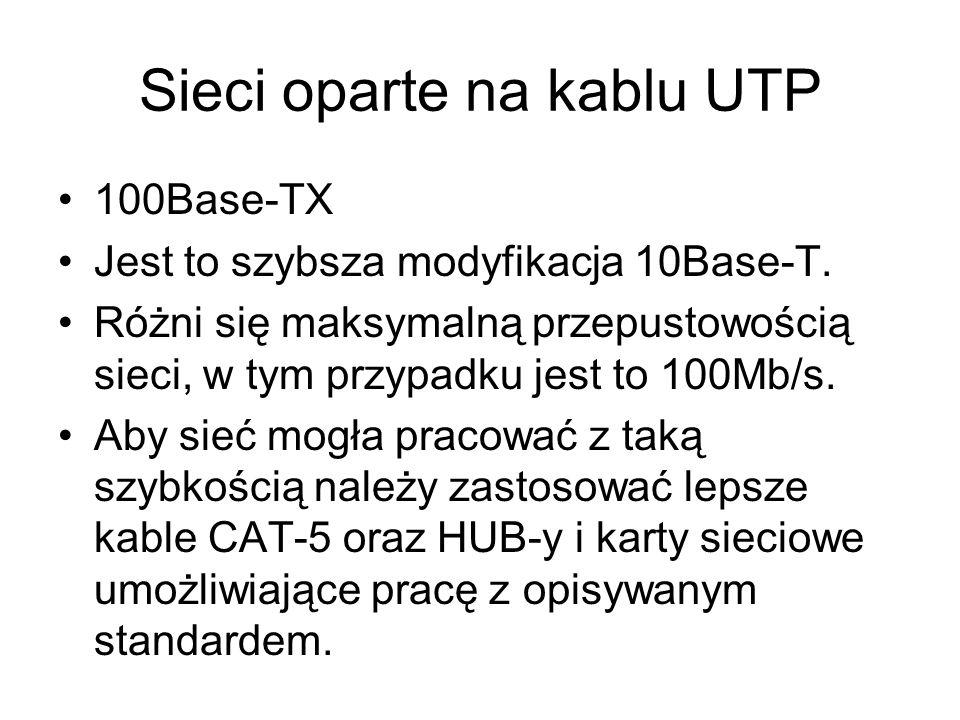 Sieci oparte na kablu UTP 100Base-TX Jest to szybsza modyfikacja 10Base-T. Różni się maksymalną przepustowością sieci, w tym przypadku jest to 100Mb/s