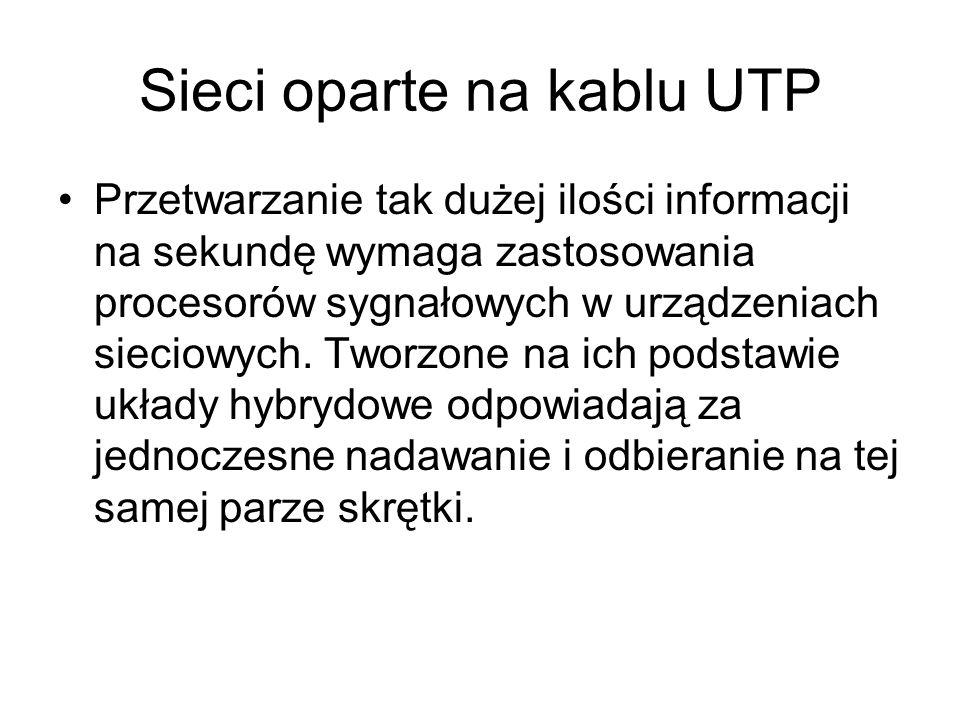Sieci oparte na kablu UTP Przetwarzanie tak dużej ilości informacji na sekundę wymaga zastosowania procesorów sygnałowych w urządzeniach sieciowych. T