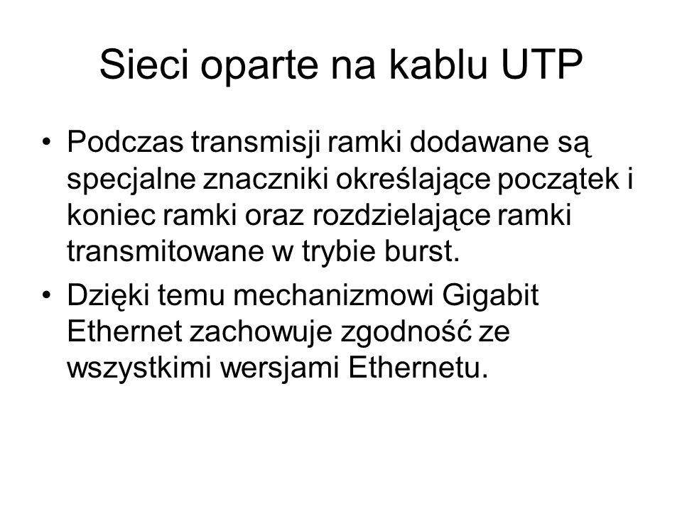Sieci oparte na kablu UTP Podczas transmisji ramki dodawane są specjalne znaczniki określające początek i koniec ramki oraz rozdzielające ramki transm