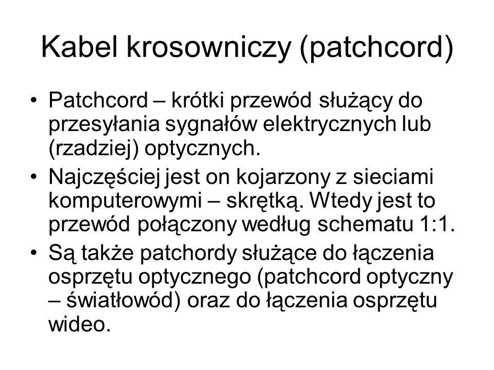 Kabel krosowniczy (patchcord) Patchcord – krótki przewód służący do przesyłania sygnałów elektrycznych lub (rzadziej) optycznych. Najczęściej jest on