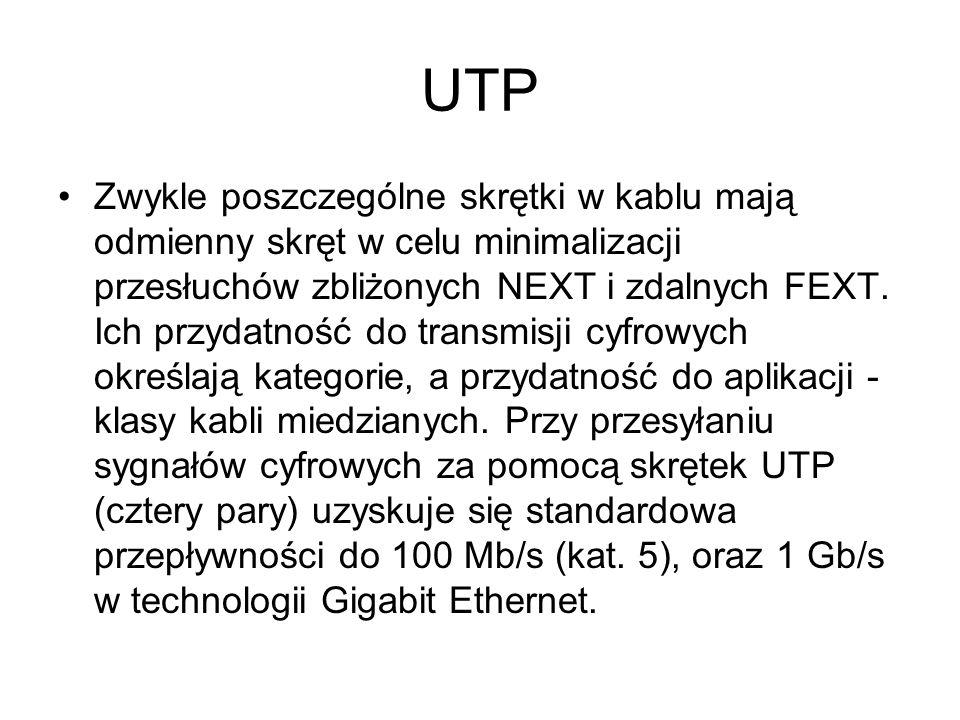 UTP Zwykle poszczególne skrętki w kablu mają odmienny skręt w celu minimalizacji przesłuchów zbliżonych NEXT i zdalnych FEXT. Ich przydatność do trans
