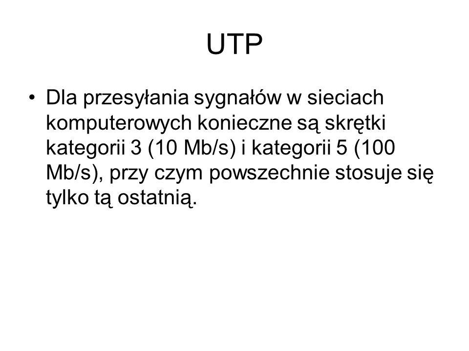 UTP Dla przesyłania sygnałów w sieciach komputerowych konieczne są skrętki kategorii 3 (10 Mb/s) i kategorii 5 (100 Mb/s), przy czym powszechnie stosu