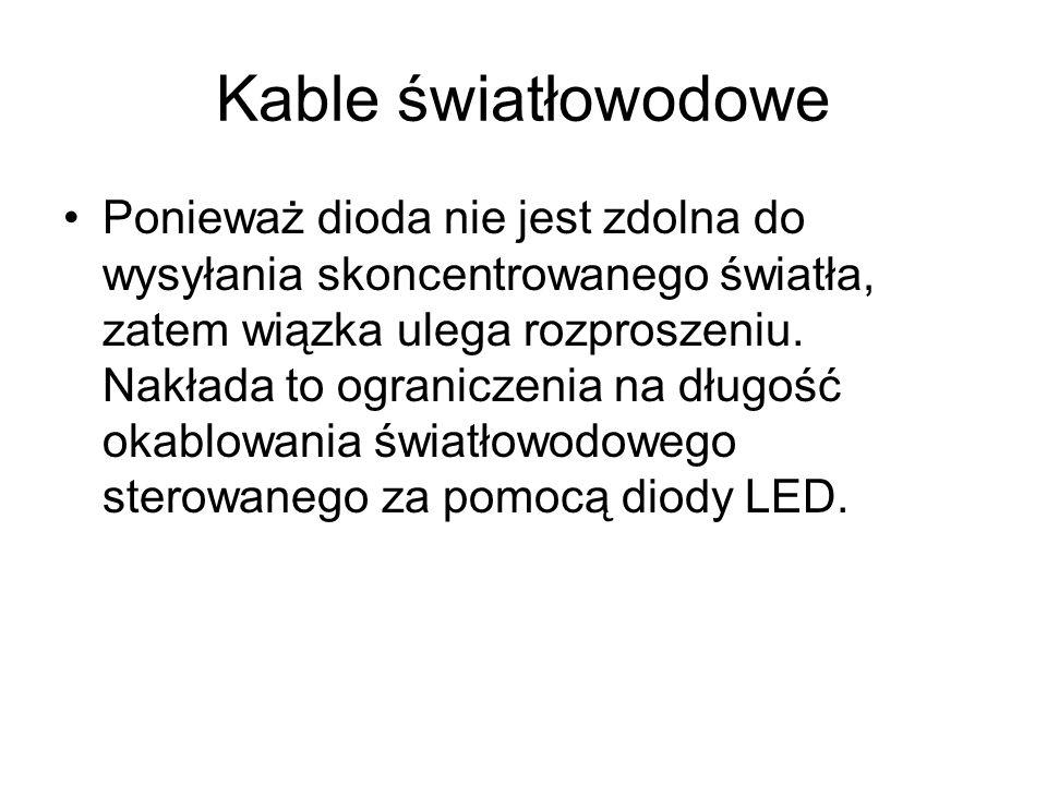 Kable światłowodowe Ponieważ dioda nie jest zdolna do wysyłania skoncentrowanego światła, zatem wiązka ulega rozproszeniu. Nakłada to ograniczenia na