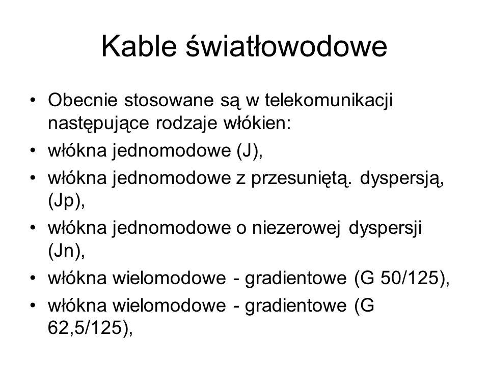 Kable światłowodowe Obecnie stosowane są w telekomunikacji następujące rodzaje włókien: włókna jednomodowe (J), włókna jednomodowe z przesuniętą. dysp