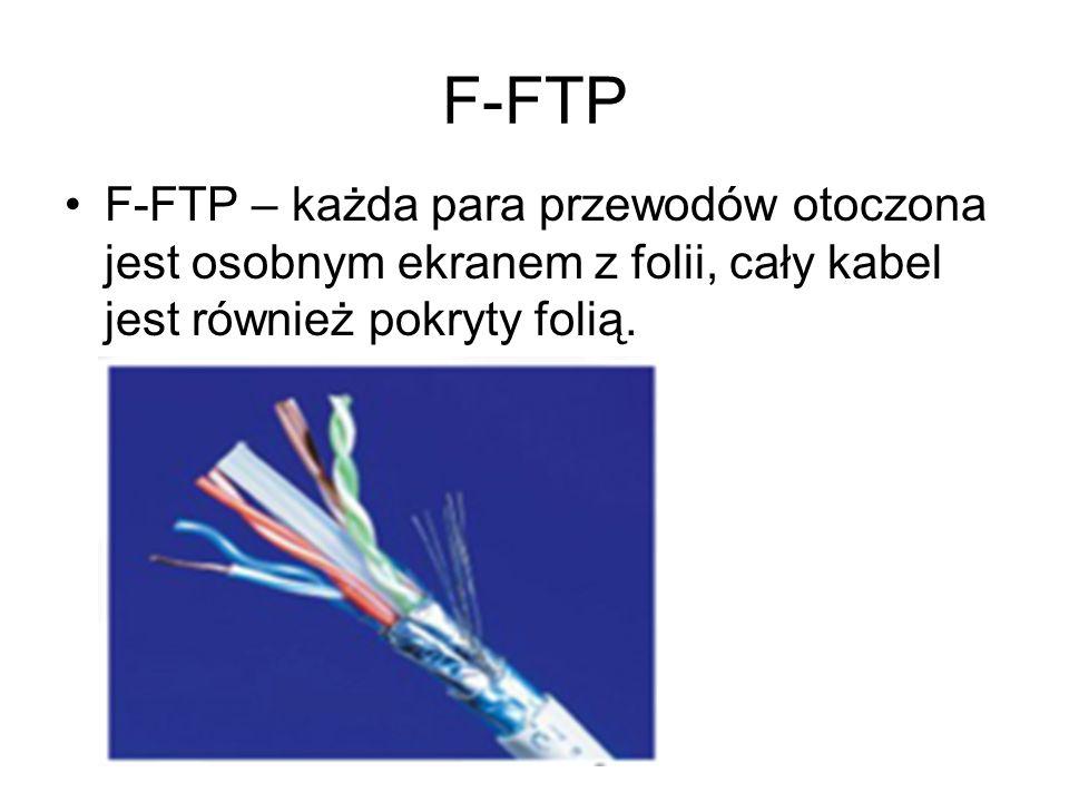 F-FTP F-FTP – każda para przewodów otoczona jest osobnym ekranem z folii, cały kabel jest również pokryty folią.