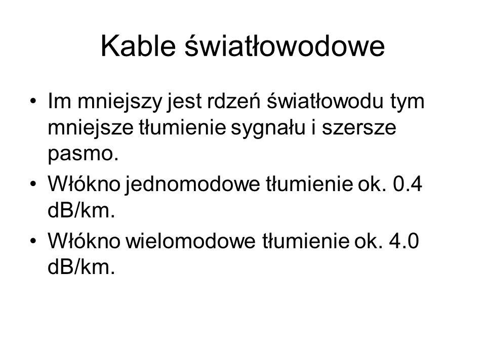 Kable światłowodowe Im mniejszy jest rdzeń światłowodu tym mniejsze tłumienie sygnału i szersze pasmo. Włókno jednomodowe tłumienie ok. 0.4 dB/km. Włó