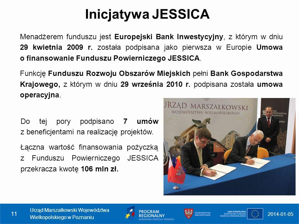 Inicjatywa JESSICA Menadżerem funduszu jest Europejski Bank Inwestycyjny, z którym w dniu 29 kwietnia 2009 r. została podpisana jako pierwsza w Europi