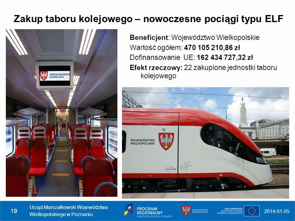 Zakup taboru kolejowego – nowoczesne pociągi typu ELF 2014-01-05 Urząd Marszałkowski Województwa Wielkopolskiego w Poznaniu 19 Beneficjent: Województw