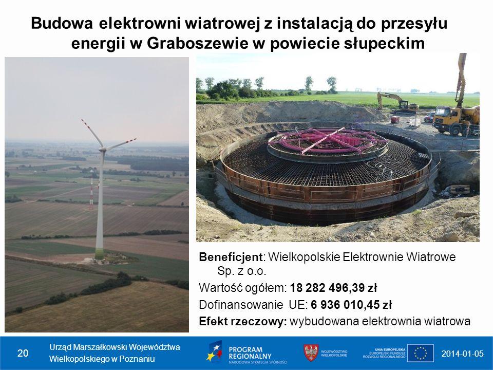 Budowa elektrowni wiatrowej z instalacją do przesyłu energii w Graboszewie w powiecie słupeckim 2014-01-05 Urząd Marszałkowski Województwa Wielkopolsk