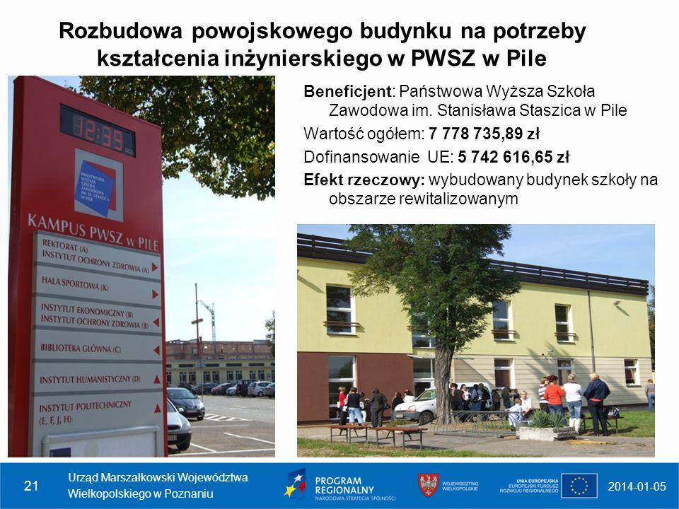 Rozbudowa powojskowego budynku na potrzeby kształcenia inżynierskiego w PWSZ w Pile 2014-01-05 Urząd Marszałkowski Województwa Wielkopolskiego w Pozna