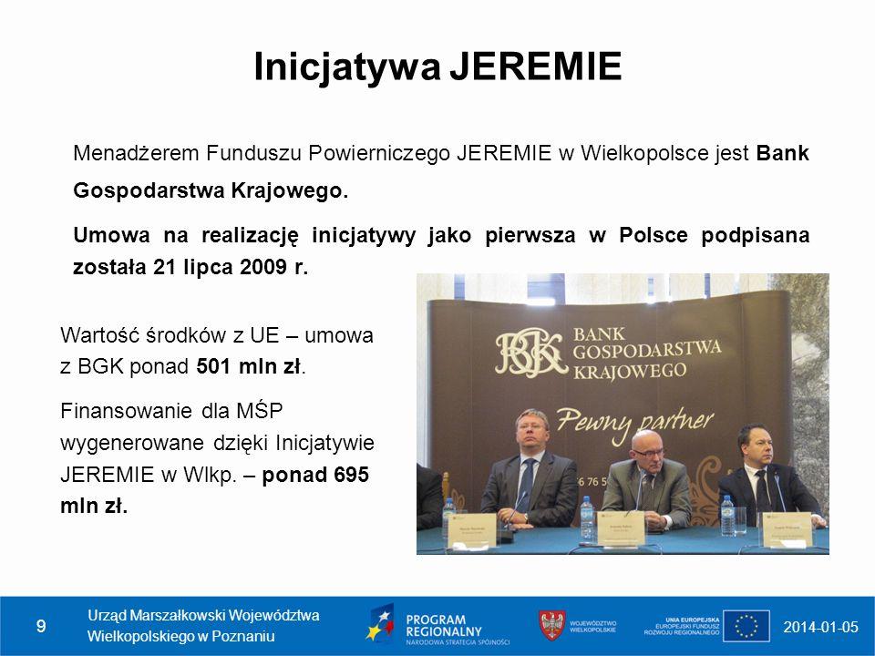 Inicjatywa JEREMIE Menadżerem Funduszu Powierniczego JEREMIE w Wielkopolsce jest Bank Gospodarstwa Krajowego. Umowa na realizację inicjatywy jako pier
