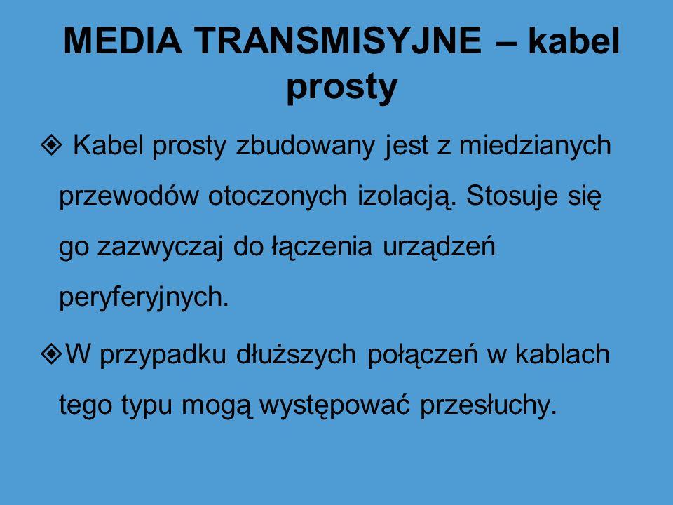 MEDIA TRANSMISYJNE – kabel prosty Kabel prosty zbudowany jest z miedzianych przewodów otoczonych izolacją. Stosuje się go zazwyczaj do łączenia urządz