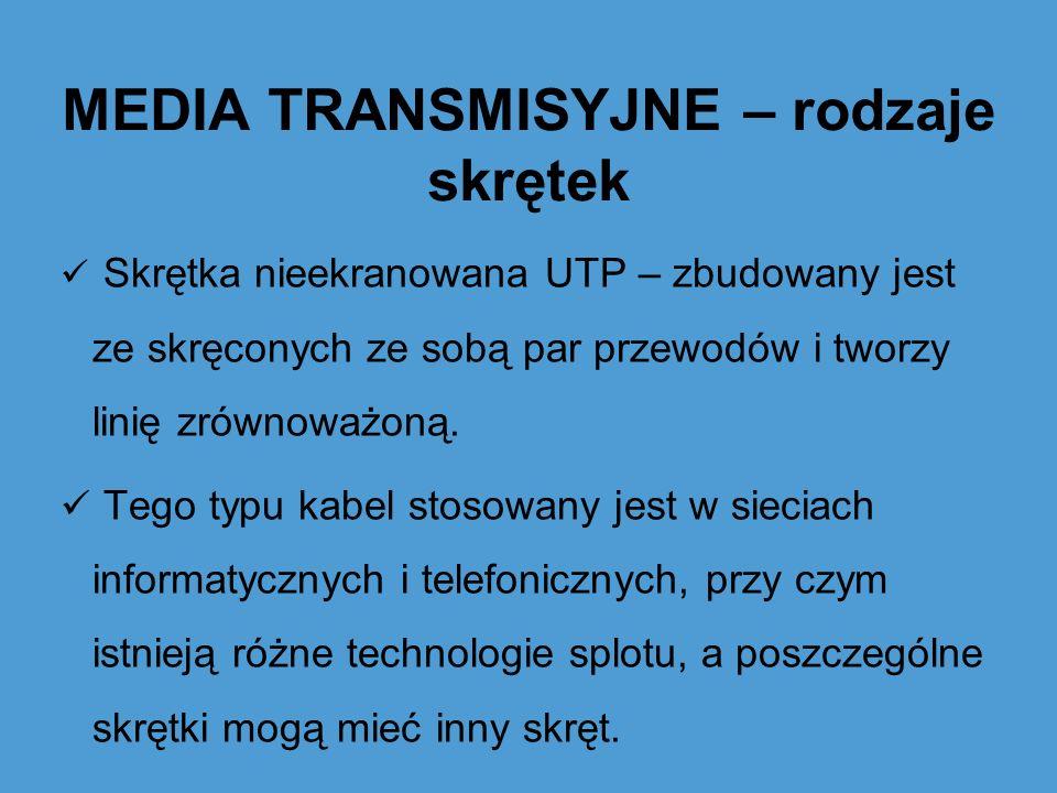 MEDIA TRANSMISYJNE – rodzaje skrętek Skrętka nieekranowana UTP – zbudowany jest ze skręconych ze sobą par przewodów i tworzy linię zrównoważoną. Tego