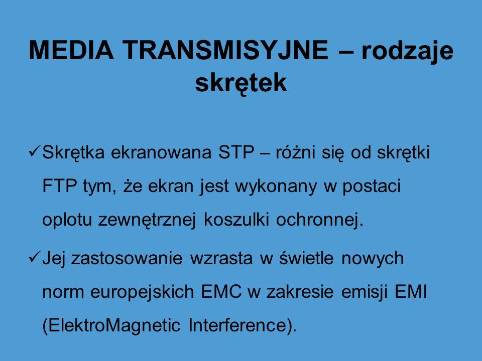 MEDIA TRANSMISYJNE – rodzaje skrętek Skrętka ekranowana STP – różni się od skrętki FTP tym, że ekran jest wykonany w postaci oplotu zewnętrznej koszul