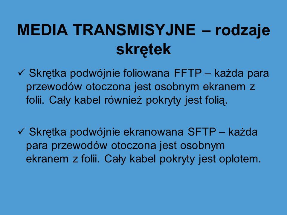 MEDIA TRANSMISYJNE – rodzaje skrętek Skrętka podwójnie foliowana FFTP – każda para przewodów otoczona jest osobnym ekranem z folii. Cały kabel również