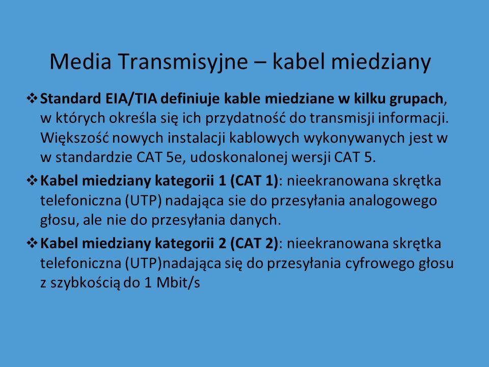 Media Transmisyjne – kabel miedziany Standard EIA/TIA definiuje kable miedziane w kilku grupach, w których określa się ich przydatność do transmisji i