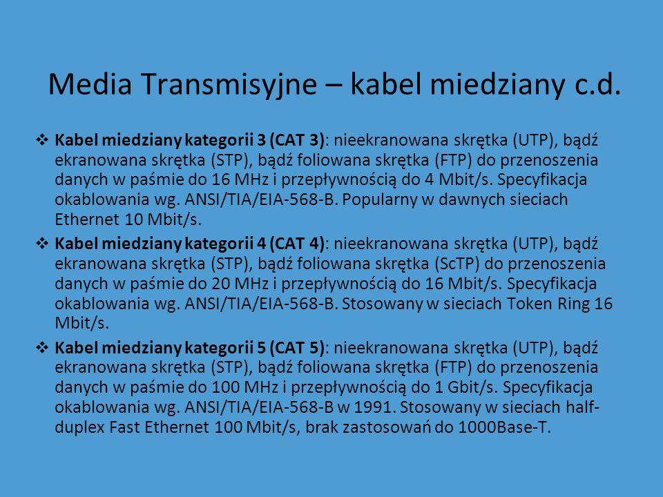 Media Transmisyjne – kabel miedziany c.d. Kabel miedziany kategorii 3 (CAT 3): nieekranowana skrętka (UTP), bądź ekranowana skrętka (STP), bądź foliow