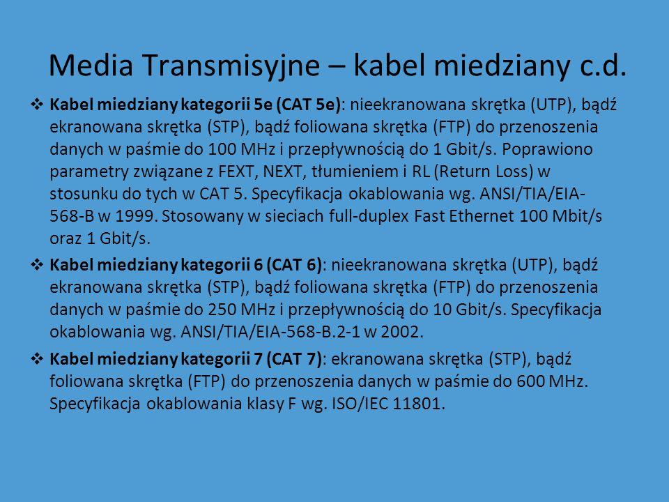 Media Transmisyjne – kabel miedziany c.d. Kabel miedziany kategorii 5e (CAT 5e): nieekranowana skrętka (UTP), bądź ekranowana skrętka (STP), bądź foli