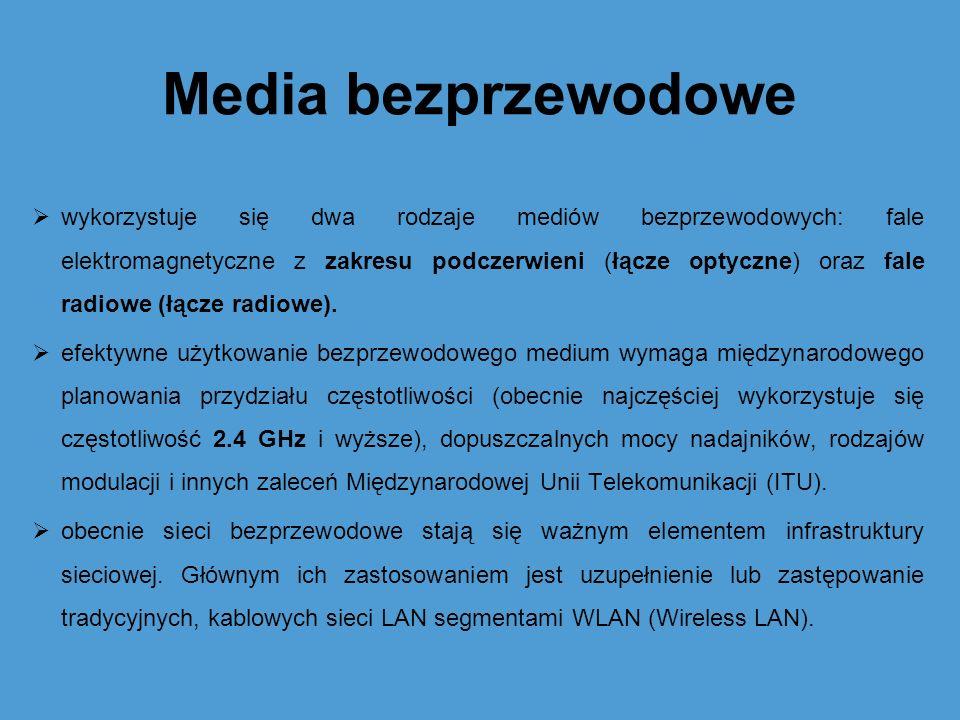 Media bezprzewodowe wykorzystuje się dwa rodzaje mediów bezprzewodowych: fale elektromagnetyczne z zakresu podczerwieni (łącze optyczne) oraz fale rad