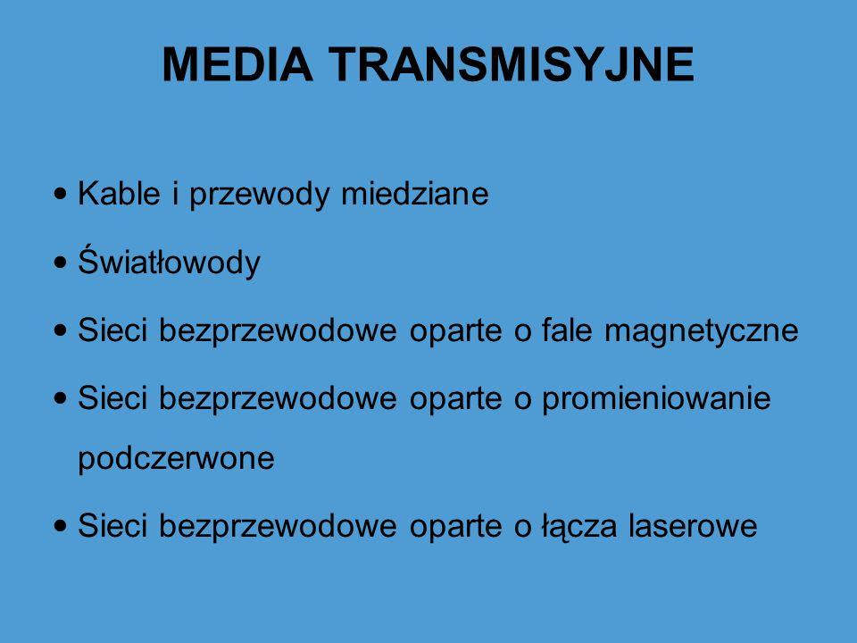 MEDIA TRANSMISYJNE Media transmisyjne dzielimy na 2 grupy: Media Kablowe Media Bezprzewodowe linia napowietrznałącze radiowe kabel prostyłącze podczerwone skrętkałącze satelitarne kabel koncentryczny światłowód