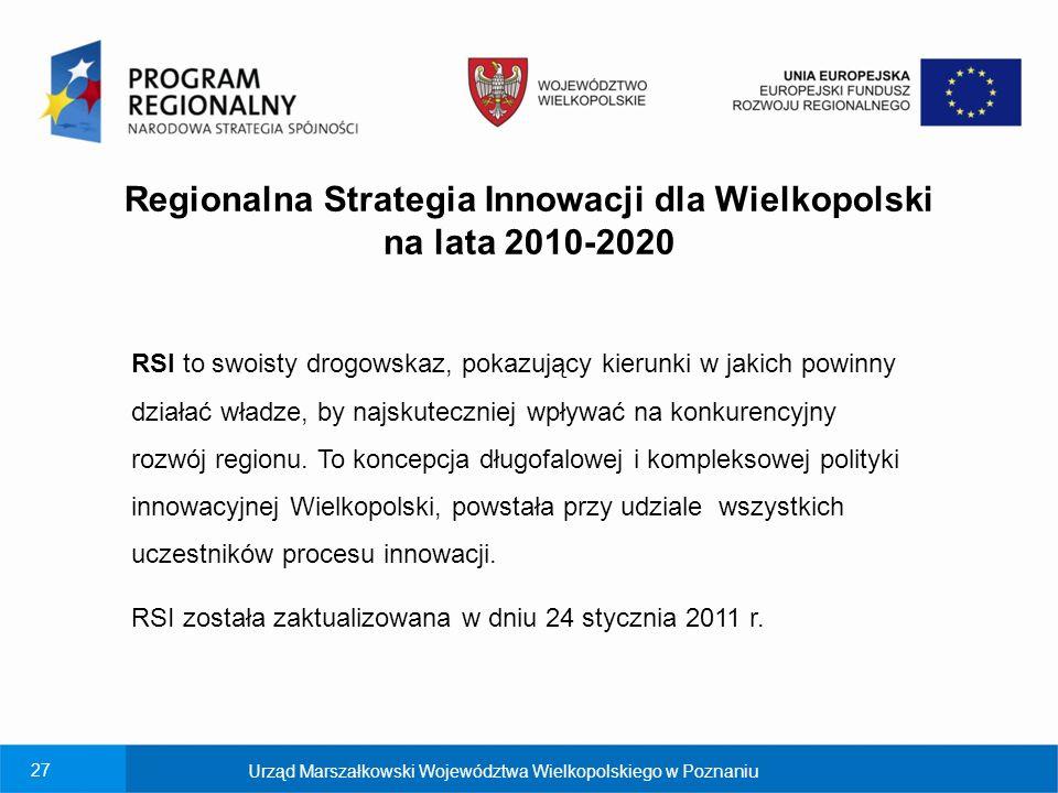 27 Regionalna Strategia Innowacji dla Wielkopolski na lata 2010-2020 Urząd Marszałkowski Województwa Wielkopolskiego w Poznaniu RSI to swoisty drogowskaz, pokazujący kierunki w jakich powinny działać władze, by najskuteczniej wpływać na konkurencyjny rozwój regionu.