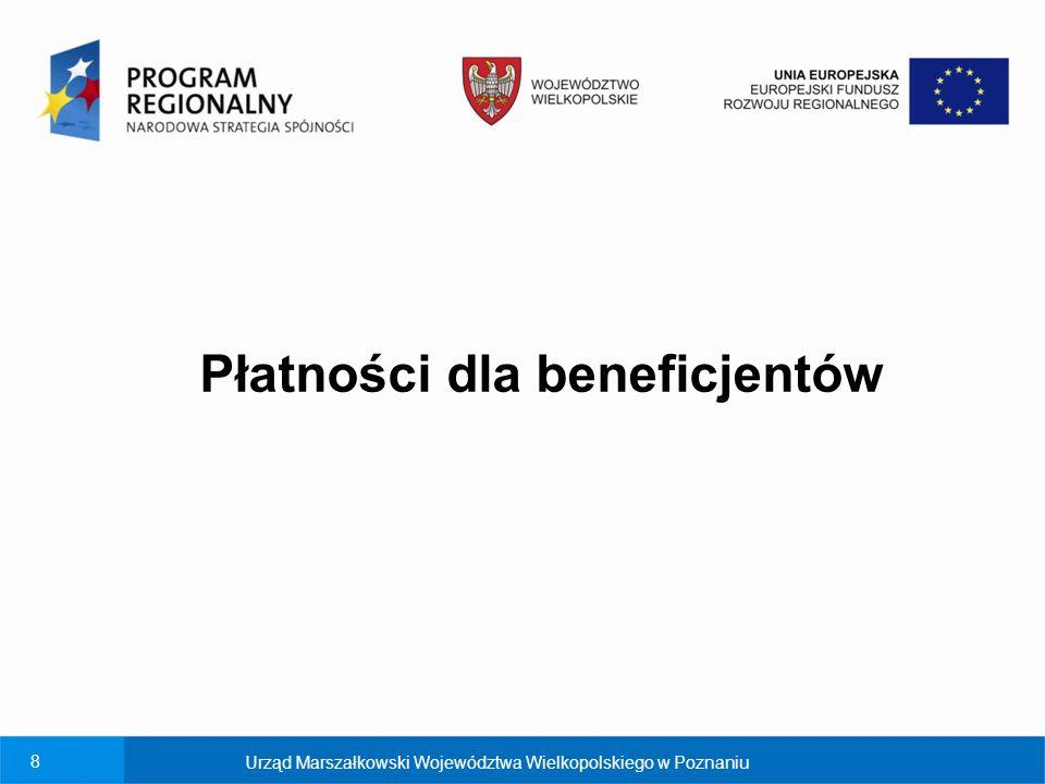 8 Płatności dla beneficjentów Urząd Marszałkowski Województwa Wielkopolskiego w Poznaniu