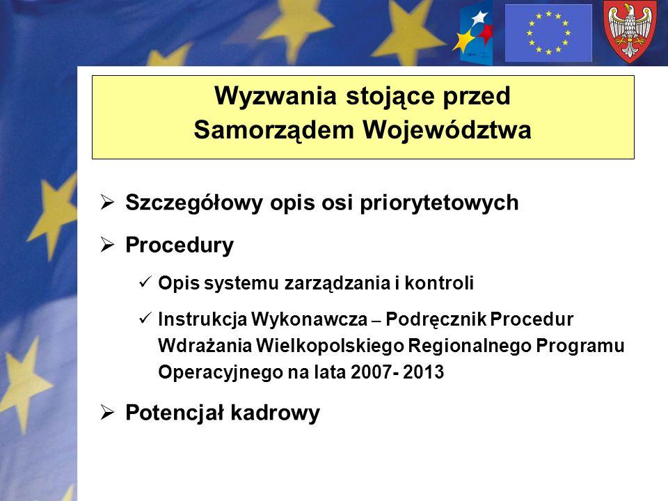 Wyzwania stojące przed Samorządem Województwa Szczegółowy opis osi priorytetowych Procedury Opis systemu zarządzania i kontroli Instrukcja Wykonawcza