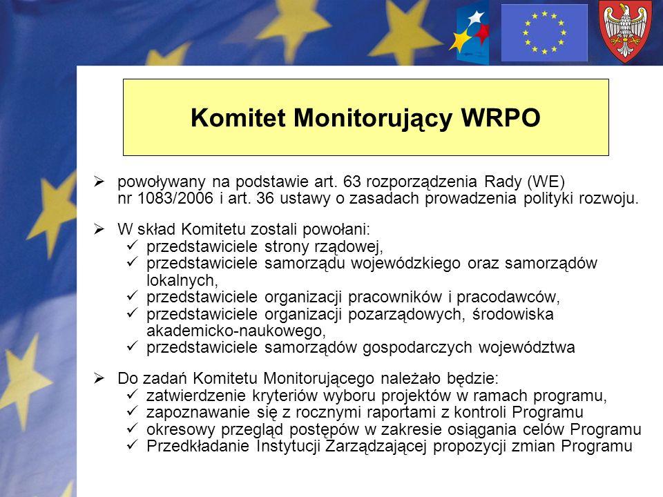 Komitet Monitorujący WRPO powoływany na podstawie art. 63 rozporządzenia Rady (WE) nr 1083/2006 i art. 36 ustawy o zasadach prowadzenia polityki rozwo