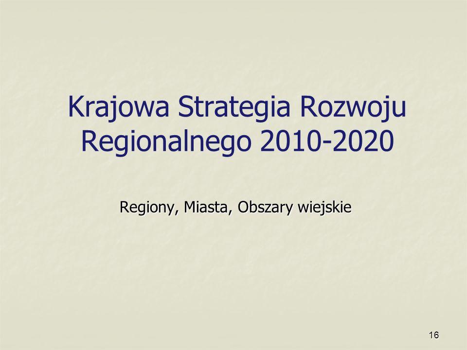 16 Krajowa Strategia Rozwoju Regionalnego 2010-2020 Regiony, Miasta, Obszary wiejskie