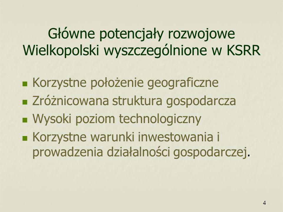 4 Główne potencjały rozwojowe Wielkopolski wyszczególnione w KSRR Korzystne położenie geograficzne Zróżnicowana struktura gospodarcza Wysoki poziom te