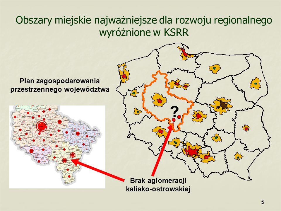 5 Obszary miejskie najważniejsze dla rozwoju regionalnego wyróżnione w KSRR Brak aglomeracji kalisko-ostrowskiej Plan zagospodarowania przestrzennego