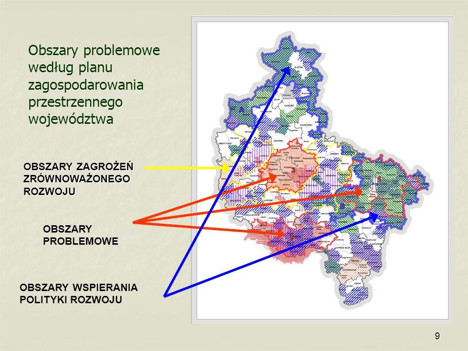 9 Obszary problemowe według planu zagospodarowania przestrzennego województwa OBSZARY PROBLEMOWE OBSZARY WSPIERANIA POLITYKI ROZWOJU OBSZARY ZAGROŻEŃ