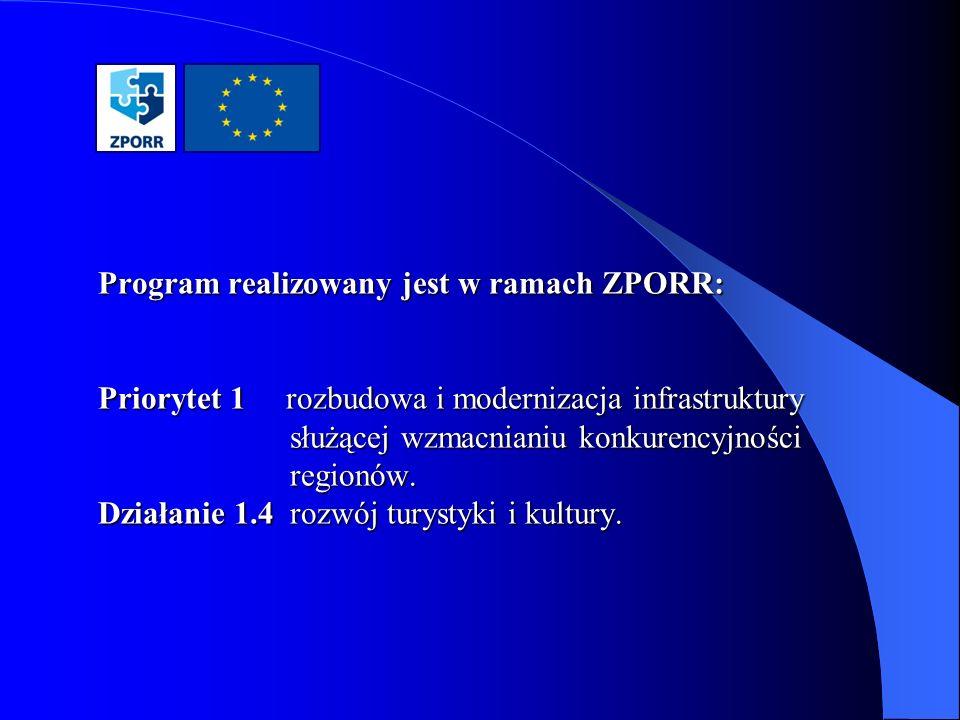 Program realizowany jest w ramach ZPORR: Priorytet 1 rozbudowa i modernizacja infrastruktury służącej wzmacnianiu konkurencyjności regionów. Działanie