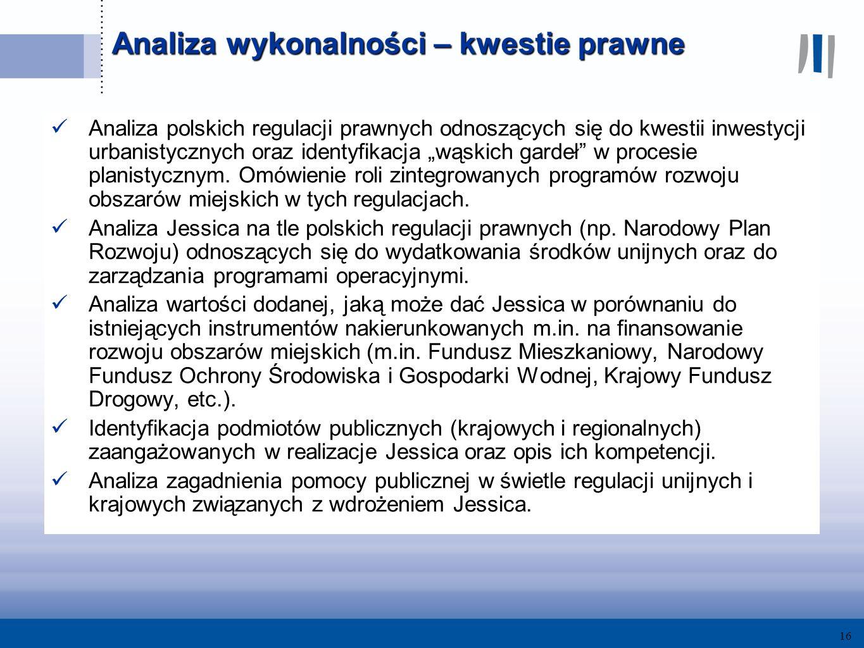 16 Analiza wykonalności – kwestie prawne Analiza polskich regulacji prawnych odnoszących się do kwestii inwestycji urbanistycznych oraz identyfikacja wąskich gardeł w procesie planistycznym.