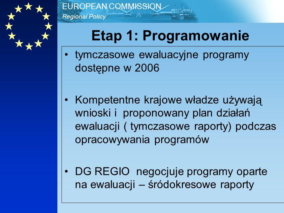 Regional Policy EUROPEAN COMMISSION Etap 1: Programowanie tymczasowe ewaluacyjne programy dostępne w 2006 Kompetentne krajowe władze używają wnioski i proponowany plan działań ewaluacji ( tymczasowe raporty) podczas opracowywania programów DG REGIO negocjuje programy oparte na ewaluacji – śródokresowe raporty