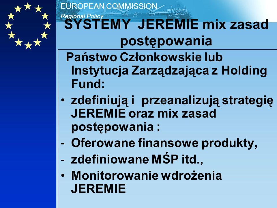 Regional Policy EUROPEAN COMMISSION SYSTEMY JEREMIE mix zasad postępowania Państwo Członkowskie lub Instytucja Zarządzająca z Holding Fund: zdefiniują i przeanalizują strategię JEREMIE oraz mix zasad postępowania : -Oferowane finansowe produkty, -zdefiniowane MŚP itd., Monitorowanie wdrożenia JEREMIE