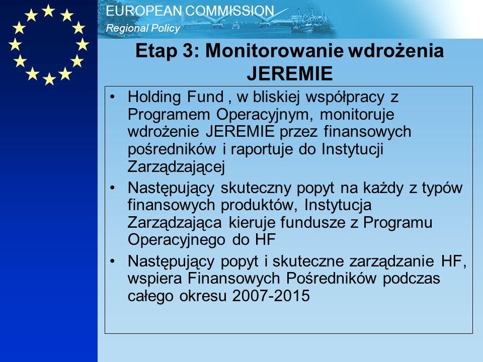 Regional Policy EUROPEAN COMMISSION Etap 3: Monitorowanie wdrożenia JEREMIE Holding Fund, w bliskiej współpracy z Programem Operacyjnym, monitoruje wdrożenie JEREMIE przez finansowych pośredników i raportuje do Instytucji Zarządzającej Następujący skuteczny popyt na każdy z typów finansowych produktów, Instytucja Zarządzająca kieruje fundusze z Programu Operacyjnego do HF Następujący popyt i skuteczne zarządzanie HF, wspiera Finansowych Pośredników podczas całego okresu 2007-2015