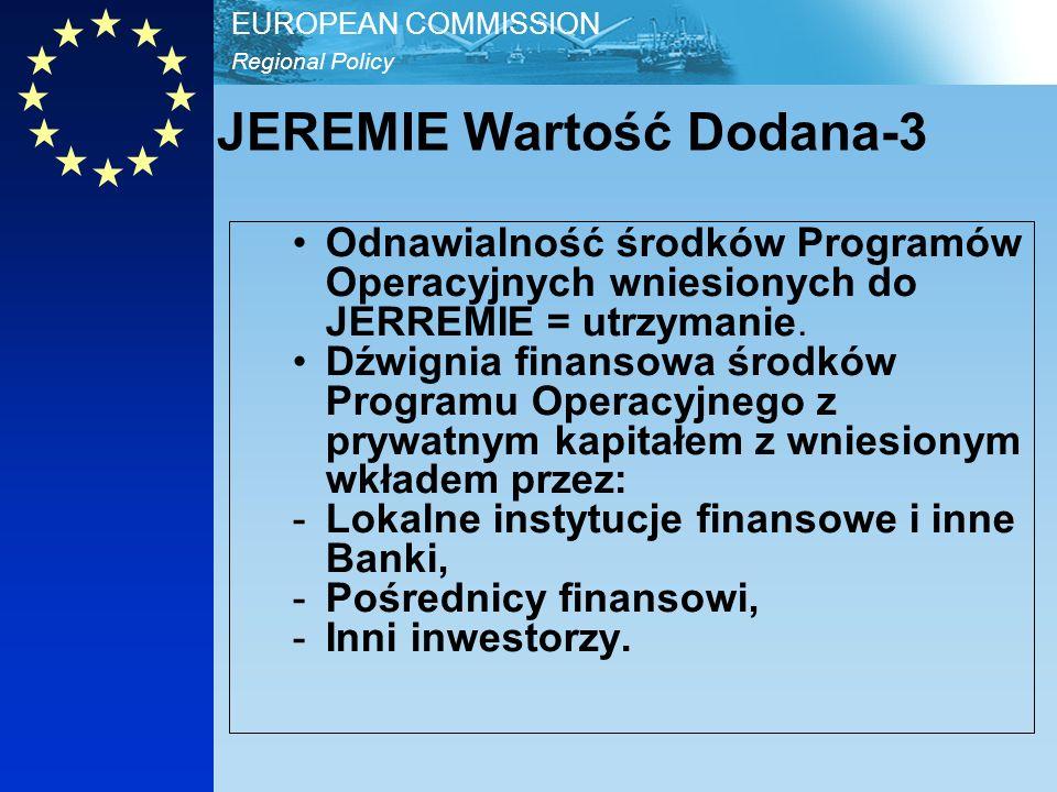 Regional Policy EUROPEAN COMMISSION JEREMIE Wartość Dodana-3 Odnawialność środków Programów Operacyjnych wniesionych do JERREMIE = utrzymanie.