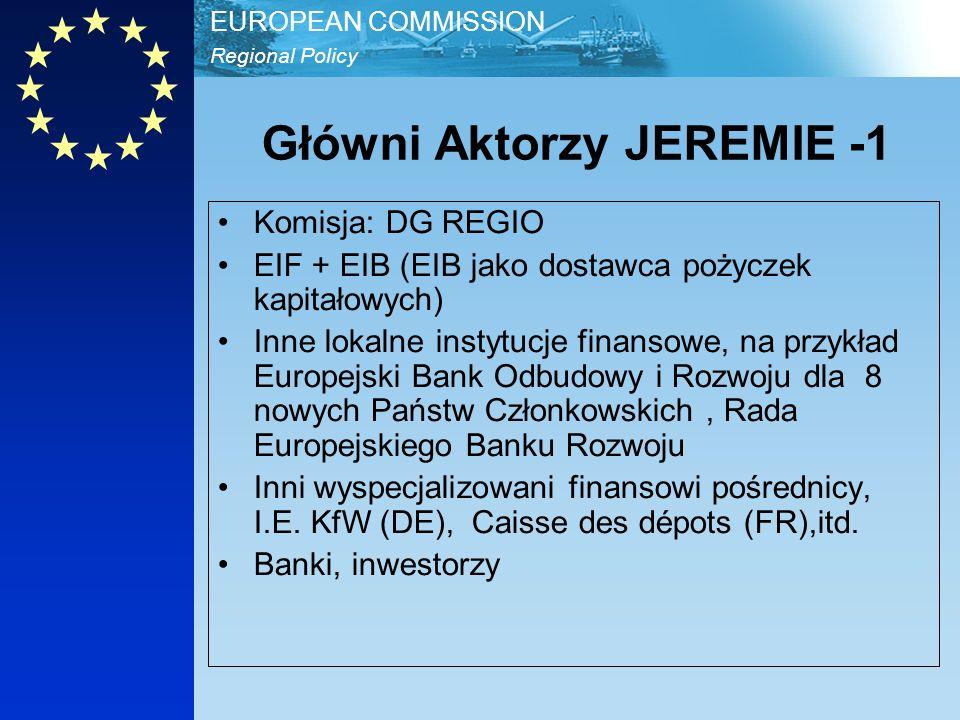 Regional Policy EUROPEAN COMMISSION Główni Aktorzy JEREMIE -2 Państwa Członkowskie, Regiony i instytucje zarządzające Narodowe i regionalne banki oraz finansowi pośrednicy, inwestorzy MŚP, włączając - Mikro kredyt (do 25.000 EUR) beneficjenci