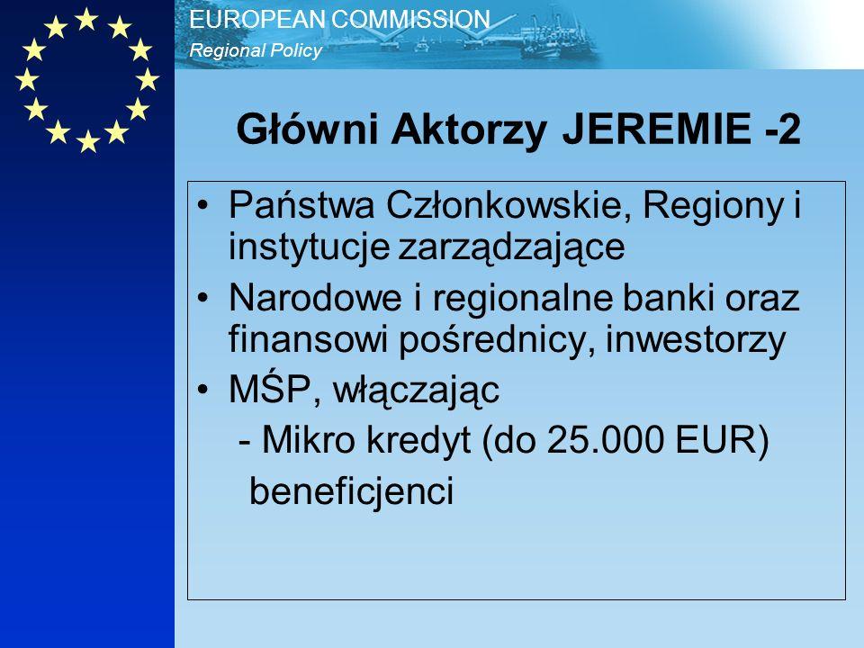 Regional Policy EUROPEAN COMMISSION JEREMIE ETAPY -1 Etap 1 : Przygotowanie Ewaluacje (2006-2007) Programowanie Etap 2: Systemy IZ wybiera Holding Fund IZ wnosi wkład do Holding Fund HF wybiera Finansowych Pośredników HF wnosi wkład do Finansowych Pośredników