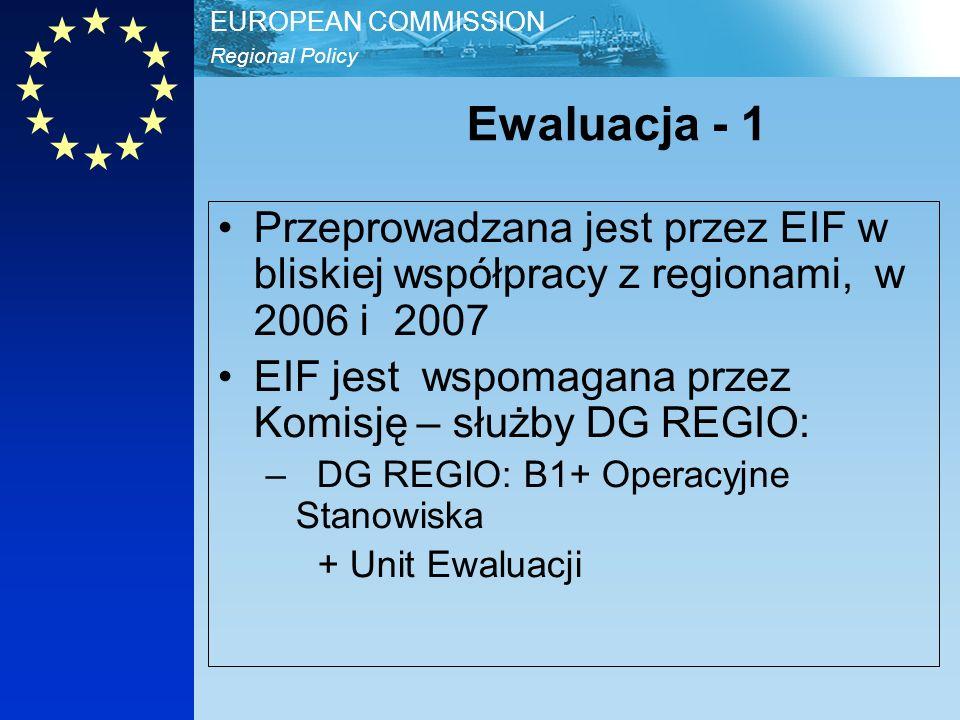 Regional Policy EUROPEAN COMMISSION Ewaluacja - 2 Ewaluacja, włączając Tymczasowe raporty opracowane w 2006, będą bezpłatnie dostępne dla: Państw Członkowskich, Regionów- Instytucji Zarządzających –Zainteresowanych holding funds i finansowymi pośrednikami Związków MŚP, Izb handlowych, itd..