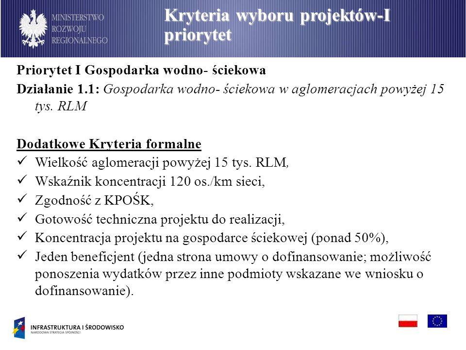 PO Infrastruktura i Środowisko Kryteria wyboru projektów-I priorytet Priorytet I Gospodarka wodno- ściekowa Działanie 1.1: Gospodarka wodno- ściekowa