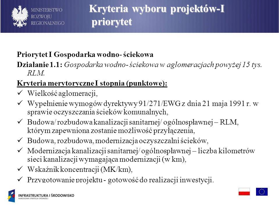 Priorytet I Gospodarka wodno- ściekowa Działanie 1.1: Gospodarka wodno- ściekowa w aglomeracjach powyżej 15 tys. RLM. Kryteria merytoryczne I stopnia