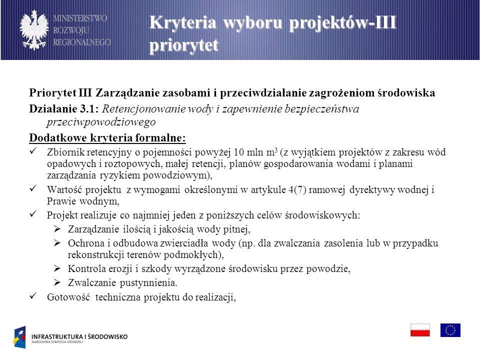 Priorytet III Zarządzanie zasobami i przeciwdziałanie zagrożeniom środowiska Działanie 3.1: Retencjonowanie wody i zapewnienie bezpieczeństwa przeciwp
