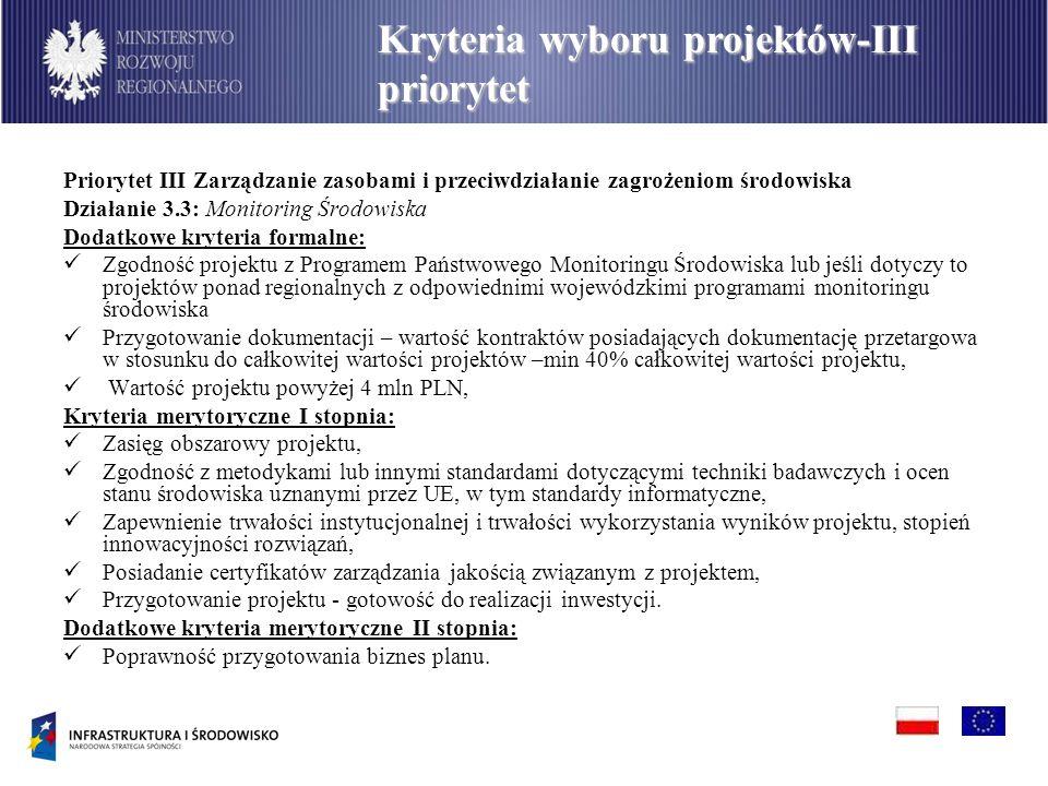 Priorytet III Zarządzanie zasobami i przeciwdziałanie zagrożeniom środowiska Działanie 3.3: Monitoring Środowiska Dodatkowe kryteria formalne: Zgodnoś