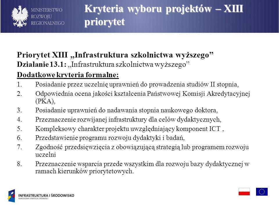 Priorytet XIII Infrastruktura szkolnictwa wyższego Działanie 13.1: Infrastruktura szkolnictwa wyższego Dodatkowe kryteria formalne: 1.Posiadanie przez