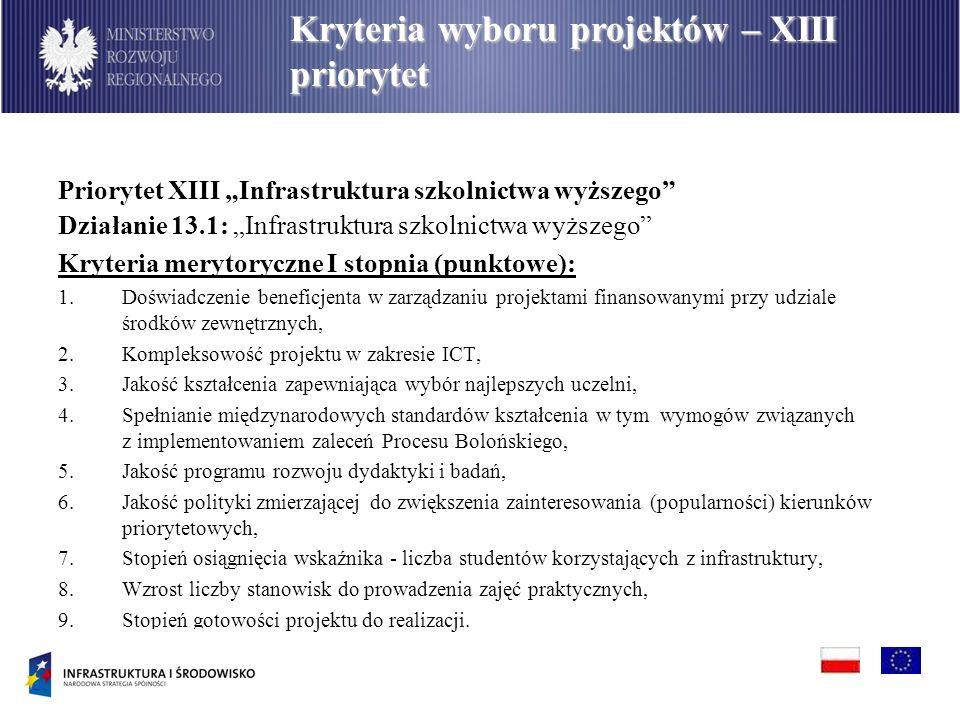 Priorytet XIII Infrastruktura szkolnictwa wyższego Działanie 13.1: Infrastruktura szkolnictwa wyższego Kryteria merytoryczne I stopnia (punktowe): 1.D